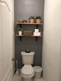 Easy DIY Bathroom Shelves for Storage Solution bathroomshelves bathroomdec… Toilet Room Decor, Small Toilet Room, Guest Toilet, Downstairs Toilet, Small Toilet Decor, Diy Bathroom, Bathroom Shelves, Bathroom Interior, Bathroom Ideas