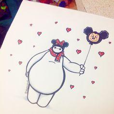 """disneyineveryway: """" deeeskye: """" Not one of my best doodles, but here it is :) Baymax goes to Disneyland! :) """" so precious! """""""