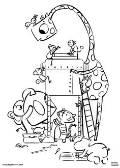 the makers - coloring page #makerfaire #makers #giraffe #bird #monkeys #elephant #tiger #hippo #bunny #pig #coloring #linework #illustration #nidhichanani