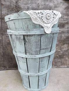 Vintage Tall Orchard Basket. Shabby Robin Egg Blue. Painted Upcycled Slatted Wood Basket. Cottage Chic Wedding Decor on Etsy, $38.00