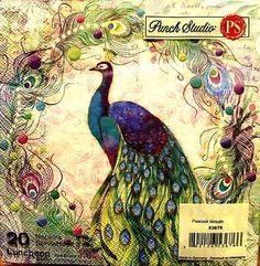 Punch Studio Set Of 20 Luncheon Paper Napkins - Peacock Wreath #53676