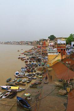 Varanasi skyline near the Ganges river in India.