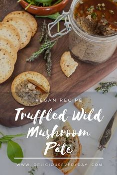 This gorgeous Mushroom Pate is a beautiful vegan pâté flavoured with wild mushrooms and a whisper of fragrant truffle oil. Serve with toasted sourdough and your favourite crackers, along with a glass of wine. Low Carb Dinner Recipes, Vegan Breakfast Recipes, Vegetarian Recipes, Healthy Recipes, Bhg Recipes, Dairy Free Recipes, Wild Mushrooms, Stuffed Mushrooms, Vegan Pate