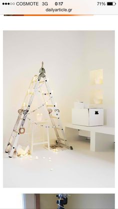 -lots of white, dislike but fitting -like the idea of a ladder being an xmas tree