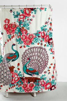 Pink and Turquoise Floral Peacock Shower Curtain from Urban Outfitters. Saved to Someday. Peacock Shower Curtain, Pretty Shower Curtains, Turquoise Bathroom, Peacock Bathroom, Bathroom Colours, Urban Outfitters, Mobiles, Have A Shower, Dream Shower
