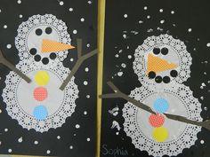 the vintage umbrella: Snowman art projects
