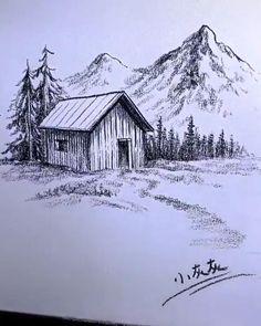 Art Drawings Beautiful, Dark Art Drawings, Art Drawings Sketches Simple, Pencil Art Drawings, Drawing With Pencil, Beautiful Pencil Sketches, Landscape Pencil Drawings, Landscape Sketch, Simple Landscape Drawing