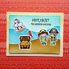 "A friendship card, made with the ""Ahoy, Matey"" stamp set from ""Lawn Fawn""."