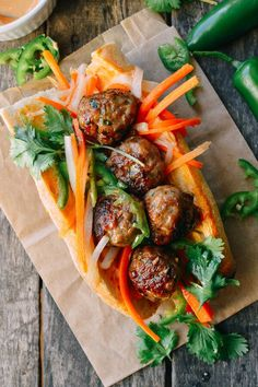 Meatball Banh Mi - added fresh ginger to meatballs, eliminated sugar, added sesame to the meatball not the pickle - big hit!