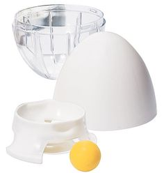 """Egg Scrambler  The secret to whipping up the perfect omelette is mixing your ingredients with the agitator ball, which quickly blends for a perfectly balanced consistency. Includes egg separator. Dishwasher safe. 3 1/2"""" x 3 1/2"""" x 5"""". Polypropylene, acrylic."""