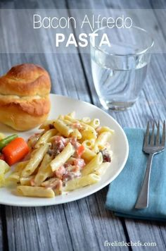 Bacon Alfredo Pasta is a quick meal. When prep time is short for dinner this recipe comes together in less then 30 minutes. Great for families. Comfort foods--yes! fivelittlechefs.com