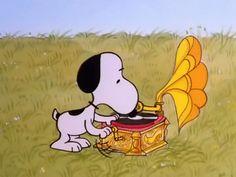 Snoopy phonograph gif