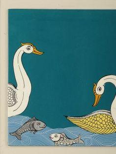 Duck & Fish Hand-Painted Pattachitra