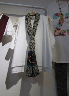 Cut Out Shoulder Tshirt w/ tribal scarf