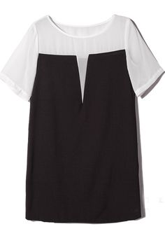 White Contrast Black Short Sleeve Chiffon H-line Dress EUR€25.82