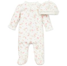 Your baby girl will be cute and comfortable in this Vintage Rose Footie & Hat set. The adorable one-piece footie is decorated with soft ruffle and bows, and includes a matching hat. Outfit is 100% cotton, and has asymmetrical snap closure from neck to feet for easy dressing. Long sleeves are perfect for extra comfort. This footie and hat set features an adorable floral theme.