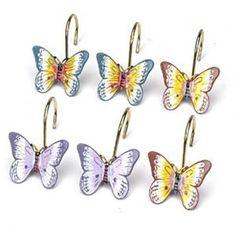 Butterfly Shower Curtain Hooks Lenox Meadow Bathroom Curtains