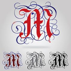 Decorated uppercase Gothic font - Letter M