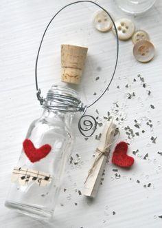 romantische ideen Valentinstag liebesbrief flaschen