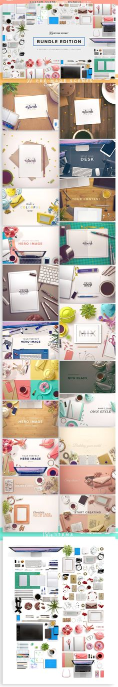 This bundle is a HUGE collection of tons of flatlay graphics and possibilities! Baby and family themed items, roses and other flowers, planner and desk items, everything! Custom Scene Summer Bundle by Román Jusdado on @creativemarket #affiliate