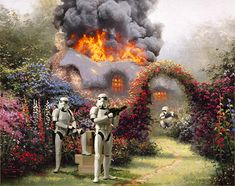 """Wars on Kincade - In his series """"War on Kinkade,"""" digital artist Jeff Bennett updates (and perhaps improves upon?) painter Thomas Kinkade's bucolic countryside scenes with elements from Star Wars…"""