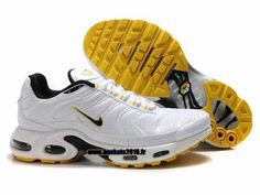 Nike Officiel Nike Air Max Tn Requin Tuned 1 Chaussures Pas Cher Pour Homme Blanc-Jaune