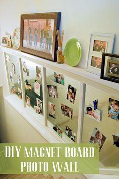 Stripes and Polka Dots: DIY Magnet Board Photo Wall