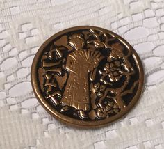 "Madam Chrysantheme from ""The Mikado"", One Piece Stamped Brass Button"