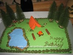 Campout Cake 10: I had the most fun creating this camping cake. My nephew had a campout for his tenth birthday and I had the pleasure to make this awesome cake. I made