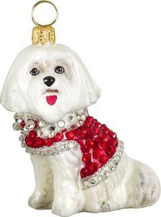 The Pet Set Maltese with Austrian Crystals Glass Christmas Ornament - Handcrafted in Europe by Joy to the World Collectibles