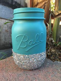 Turquoise and Silver Glitter Mason Jar  by PrettySimplyStudio