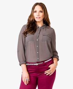 Grey/Pewter Metallic Beaded collar Chiffon Shirt   FOREVER21 PLUS