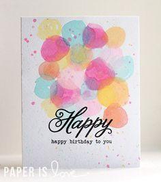 Watercolor Birthday Card |  Paper is Love, Kalyn Kepner