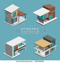 Modern house isometric collections design background, vector illustration