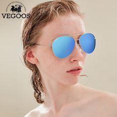 Best Buy $28.36, Buy VEGOOS Real Polarized Men & Women Sunglasses Aviation Flash Mirrored Lens UV Protection Eyewear Female Pilots Sun Glasses #3025V