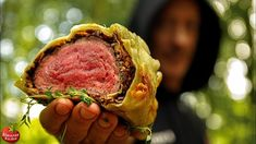 Made in beautiful Serbian forest - Amazing Beef Wellington baked inside very thin handmade dough with mushrooms and olives Milk Recipes, Kitchen Recipes, Beef Recipes, Cooking Recipes, Yummy Recipes, Carne, Open Fire Cooking, Beef Fillet, Recipes