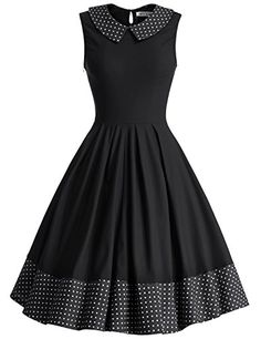 JUESE Womens Vintage Cocktail Peter Pan Collar Tea Dress Black -- Visit the image link more details. Casual Dresses, Short Dresses, Fashion Dresses, Skirt Outfits, Dress Skirt, Pretty Dresses, Beautiful Dresses, Sweet Dress, African Dress