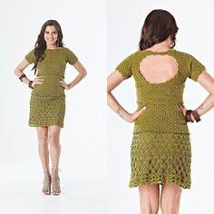 Knitting trend: Зеленое платье Анна (схема и описание на португальском) Vestido green Anna