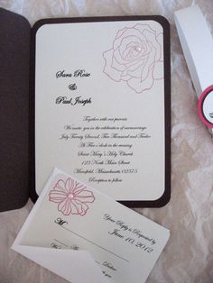 Handmade Rose Bi-fold wedding invitation with reply card