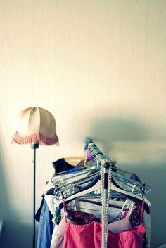 Clothes rack/Ikea/175 NOKLamp/Flea  market/10 NOK Fleas, Bucket Bag, Garage, Bags, Clothes, Fashion, Carport Garage, Handbags, Outfits