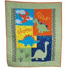 Dinosaur Baby Quilt in Bright Colors by Sieberdesigns on Etsy