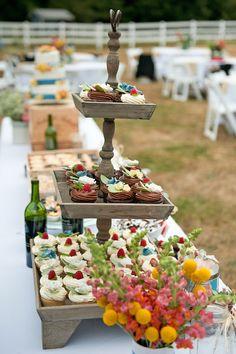 Country wedding dessert buffet.  Photo by Teddi Yaeger Photography