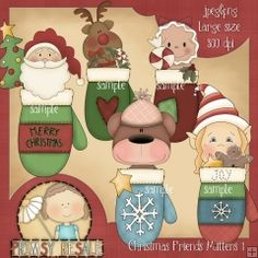 Christmas Friends Mittens 1 - Clip Art by Primsy Doodle