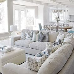 7 Healthy Cool Tips: Coastal House Modern coastal dining fabrics.Coastal Living Room On A Budget coastal table diy. Coastal Living Rooms, Home Living Room, Living Room Designs, Kitchen Living, Living Area, Cottage Living Room Decor, White Couch Living Room, Hamptons Living Room, Blue And White Living Room