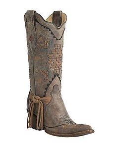 ༻⚜༺ ❤️ ༻⚜༺ Corral Boot Company Women's Vintage Tobacco w/ Woven Aztec Design Snip Toe Western Boots   $259.99 ༻⚜༺ ❤️ ༻⚜༺