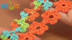 Crochet Floral Cord Lace Tutorial 51 Small Six-Petal Flowers  http://sheruknitting.com/videos-about-knitting/romanian-lace-ribbons-and-cords/item/620-crochet-floral-cord.html Flower lace, floral cord lace trim, crocheted lace trim. This crochet video tutorial demonstrates how to make a beautiful and easy to crochet flower lace cord that can be used as a trim or as a special accessory for kids clothing. Small crocheted flowers are joined in an invisible way...