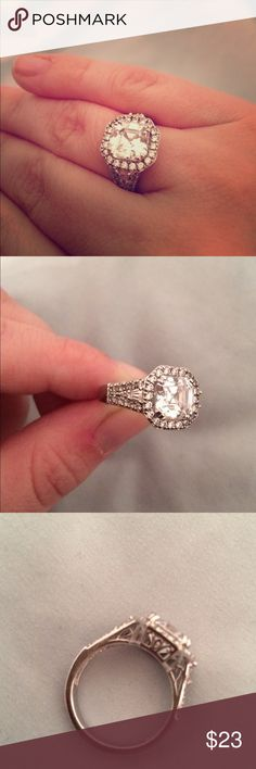 Sterling silver CZ Asher cut size 7 ring Tacori style Sterling silver CZ Asher cut size 7 ring Jewelry Rings
