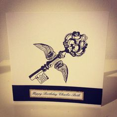 Harry potter winged key birthday card, love the ink drawing effect