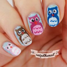 """seizethenail: """"I did owls!! As suggested in the first comment in my precious pic. These were super easy to do and so cute! My inspiration for these little cuties comes from @letsnailmoscow  Tutorial..."""