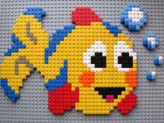 Cute LEGO mosaics! (by Elena) #LEGO #mosaic Lego For Kids, Puzzles For Kids, Cross Stitch Designs, Cross Stitch Patterns, Lego Fish, Lego Challenge, Lego Wall, Lego Club, Creative Activities For Kids